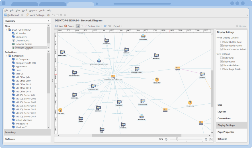 Network map illustrated the ability to see all networked devices in one place