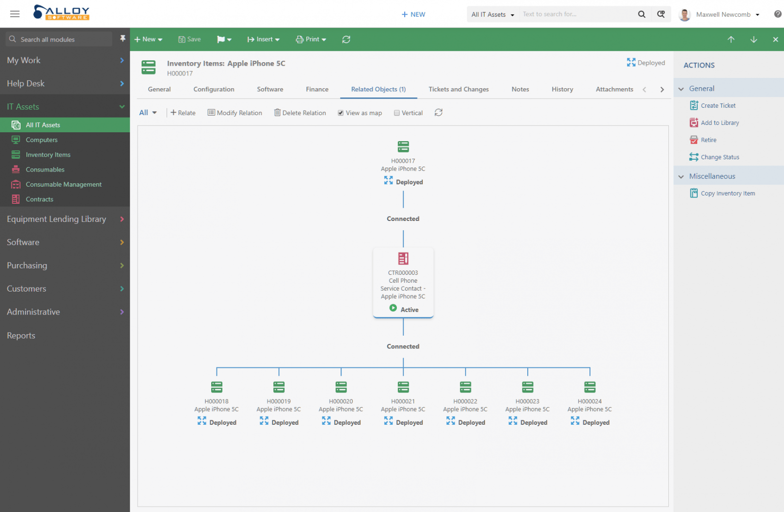 Screenshot illustrated IT Help Desk Software CMDB capabilities