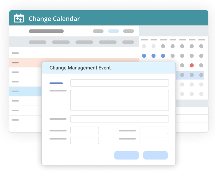 Change management calendar with event form open