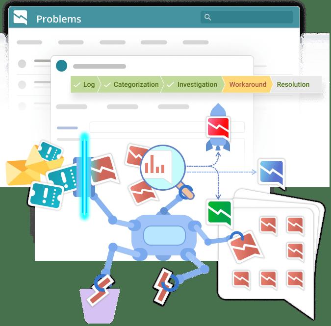 Problem management screenshot with robot