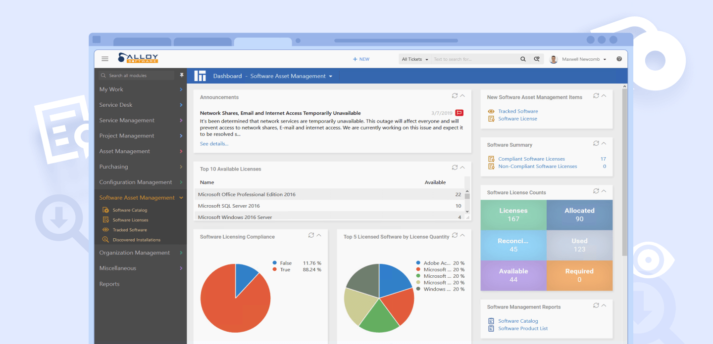 Software License Compliance Dashboard