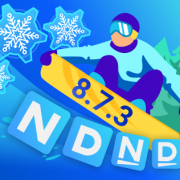 Man on a snowboard with version 873 on it