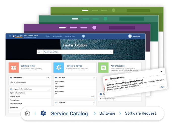 Several multi-colored screenshots ща ITSM SSP